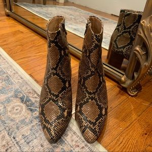 Madewell Fiona Snakeskin Boots, Size 8